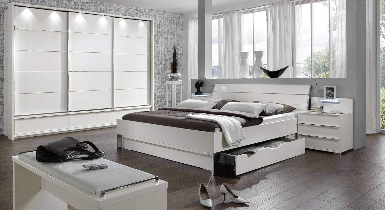 Full Size of Schlafzimmer Komplett Weiß Modernes Schubkasten Doppelbett In Weiss Salford I Bettende Komplette Landhausküche Deckenlampe Kleines Regal Weißes Sessel Schlafzimmer Schlafzimmer Komplett Weiß
