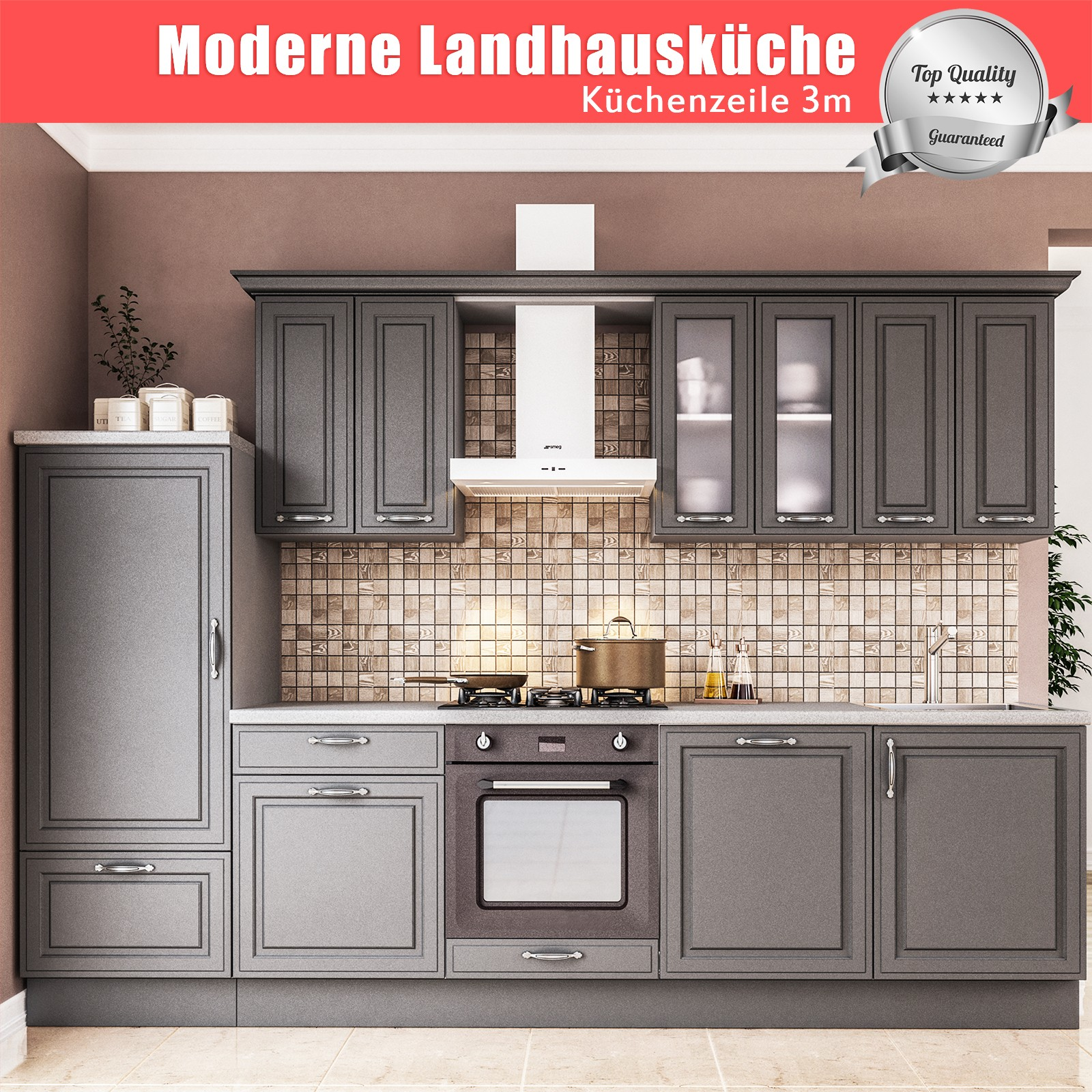 Full Size of Landhausküche Moderne Landhauskche Linnea Kchenblock Kchenzeile 3m Weiß Gebraucht Grau Weisse Küche Landhausküche