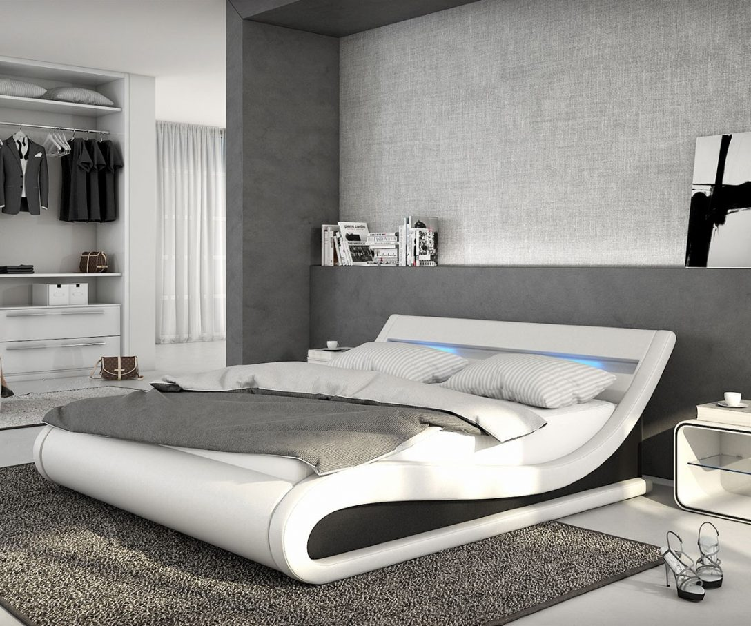 Large Size of Bett Modern Design Italienisches Puristisch Belana Weiss Schwarz 140x200 Cm Mit Led Beleuchtung Polsterbett Massivholz Hohes 180x200 Bettkasten Tempur Betten Bett Bett Modern Design