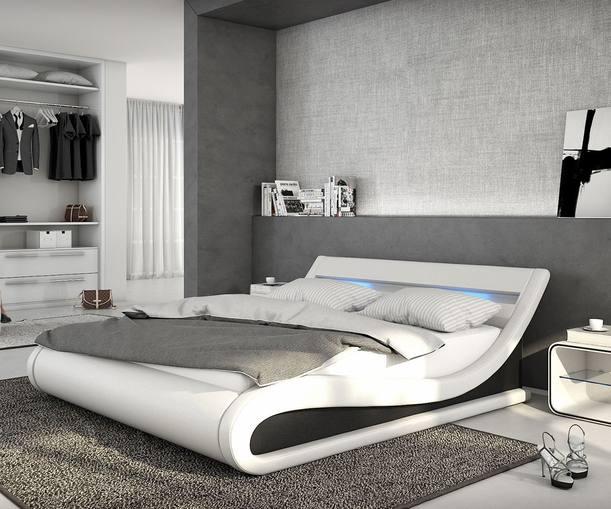 Full Size of Bett Modern Design Italienisches Puristisch Belana Weiss Schwarz 140x200 Cm Mit Led Beleuchtung Polsterbett Massivholz Hohes 180x200 Bettkasten Tempur Betten Bett Bett Modern Design
