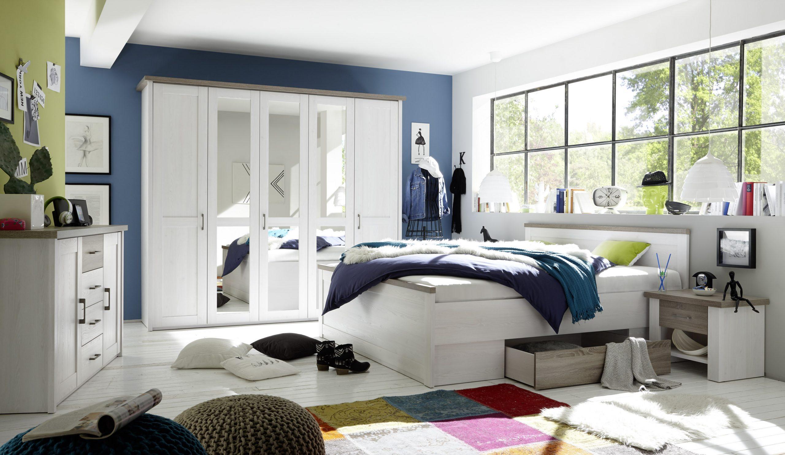 Full Size of Schlafzimmer Komplett Weiß Set 5 Tlg Bett 180 Kleiderschrank Kommoden Weißer Esstisch Weißes 140x200 Regal Deckenleuchte Weiße Betten Wandlampe Komplettes Schlafzimmer Schlafzimmer Komplett Weiß