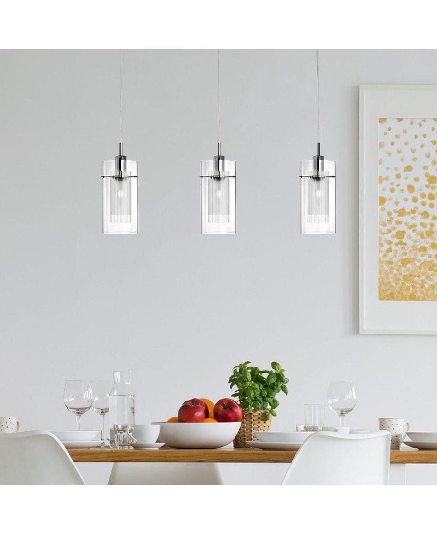 Full Size of 3 Flpendelleuchte Glas Led Metall Chrom Deckenlampe Esstisch K Bodenbelag Küche Abluftventilator U Form Einbauküche Ohne Kühlschrank Vorhänge Laminat Für Küche Pendelleuchten Küche