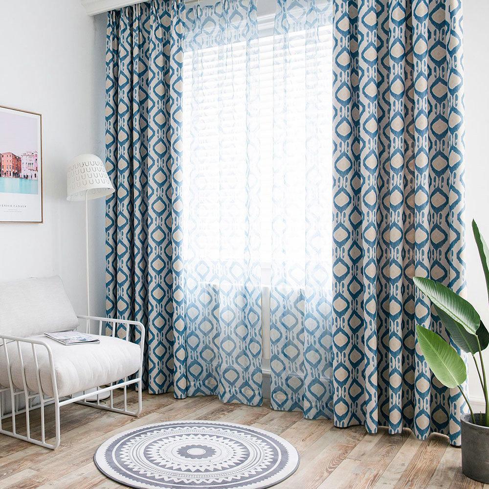 Full Size of Vorhänge Schlafzimmer Minimalismus Vorhang Blau Geometrie Im Wohnzimmer Massivholz Truhe Kommode Komplett Mit Lattenrost Und Matratze Günstig Stuhl Schlafzimmer Vorhänge Schlafzimmer