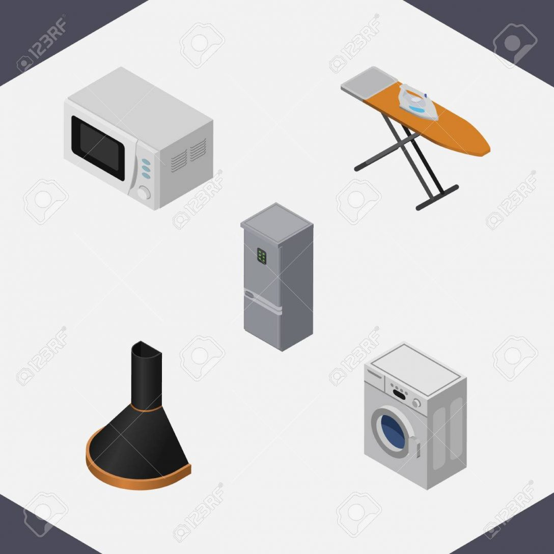 Large Size of Isometric Technology Set Of Kitchen Fridge, Air Extractor, Cloth Iron And Other Vector Objects. Also Includes Laundry, Hood, Stove Elements. Küche Abluftventilator Küche