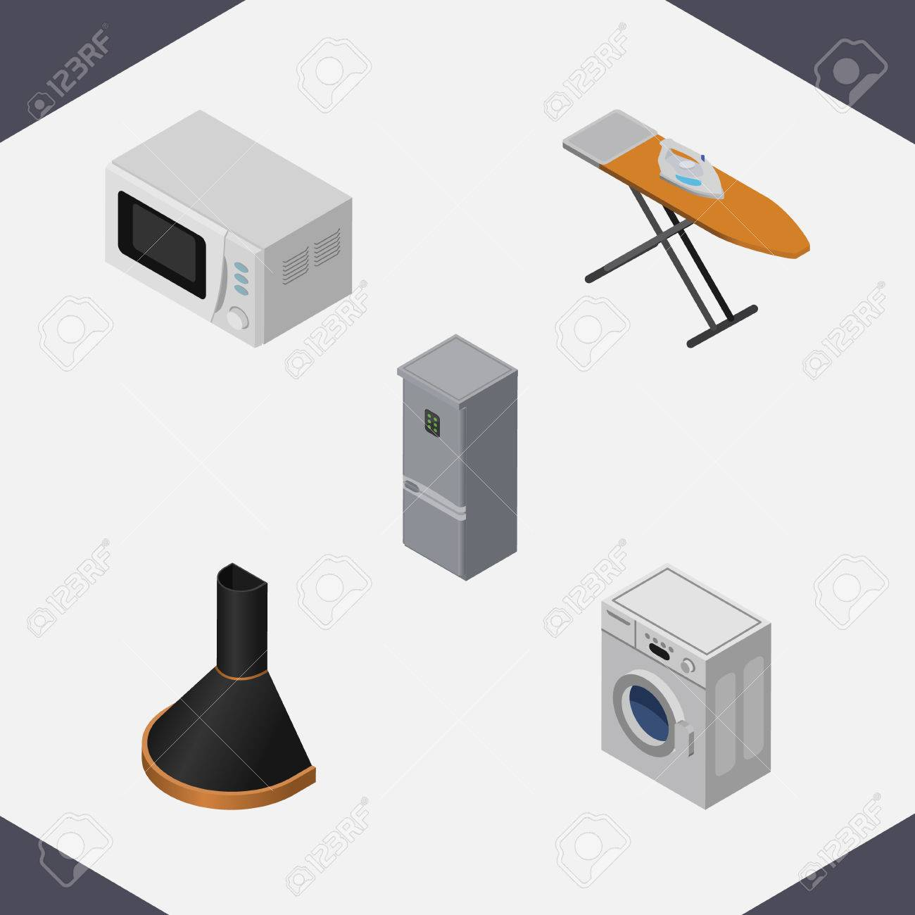 Full Size of Isometric Technology Set Of Kitchen Fridge, Air Extractor, Cloth Iron And Other Vector Objects. Also Includes Laundry, Hood, Stove Elements. Küche Abluftventilator Küche