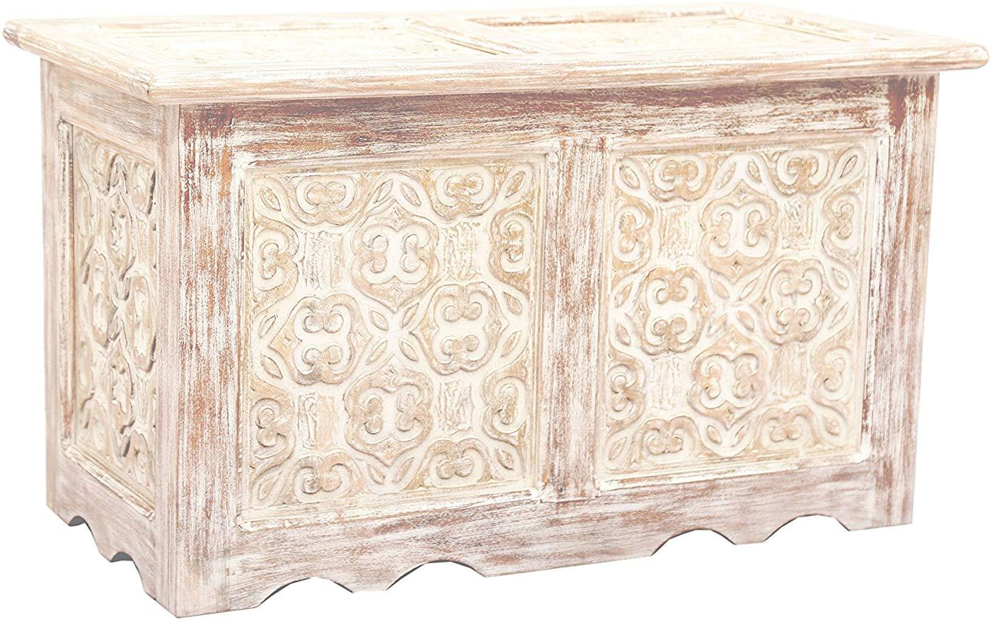 Full Size of Orientalische Truhe Kiste Aus Holz Ceyda 80cm Gro In Wei Schlafzimmer Set Günstig Kommode Komplett Rauch Led Deckenleuchte Mit Lattenrost Und Matratze Schlafzimmer Truhe Schlafzimmer