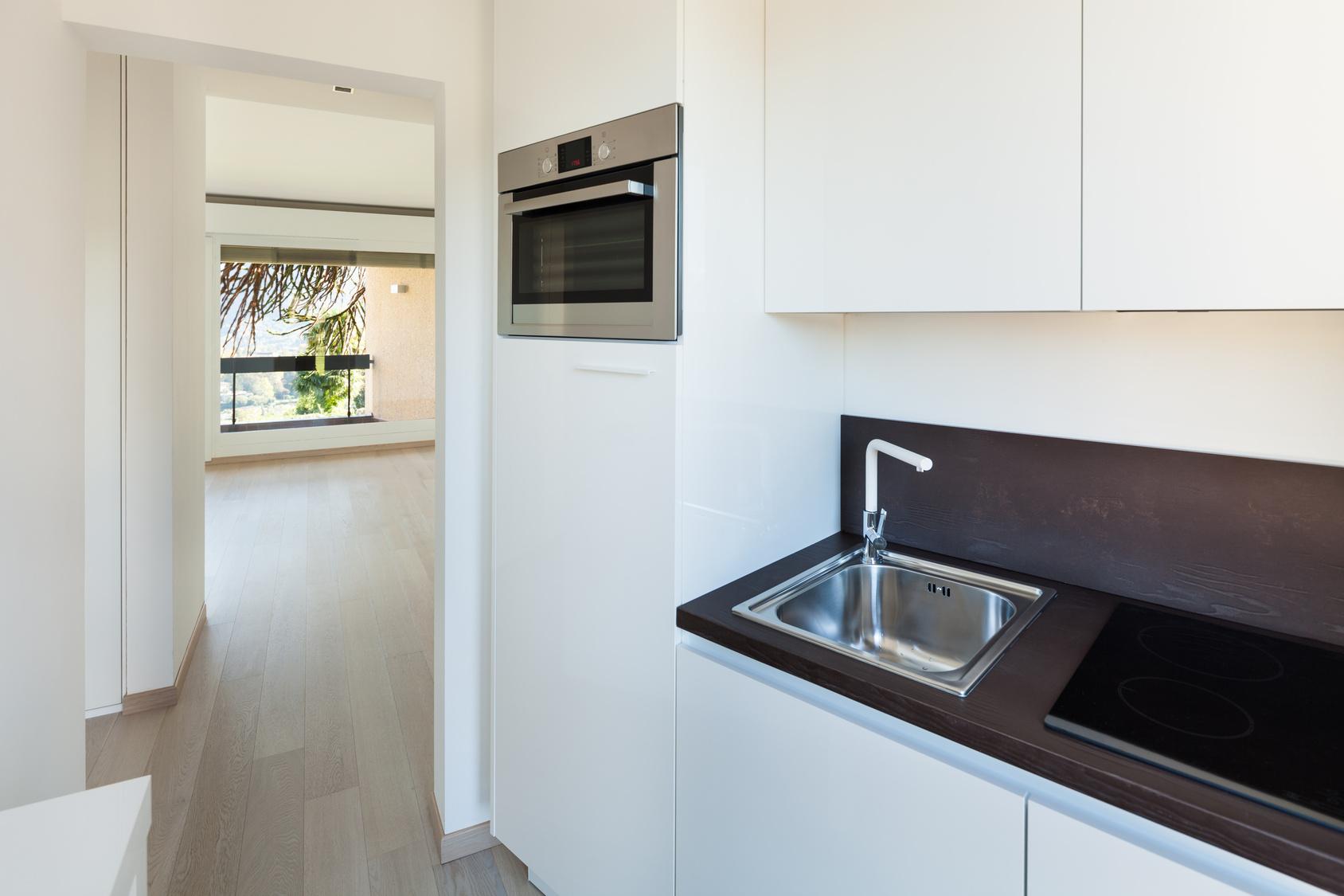 Full Size of Interiors Building, Modern Apartment, Kitchen View Küche Singleküche