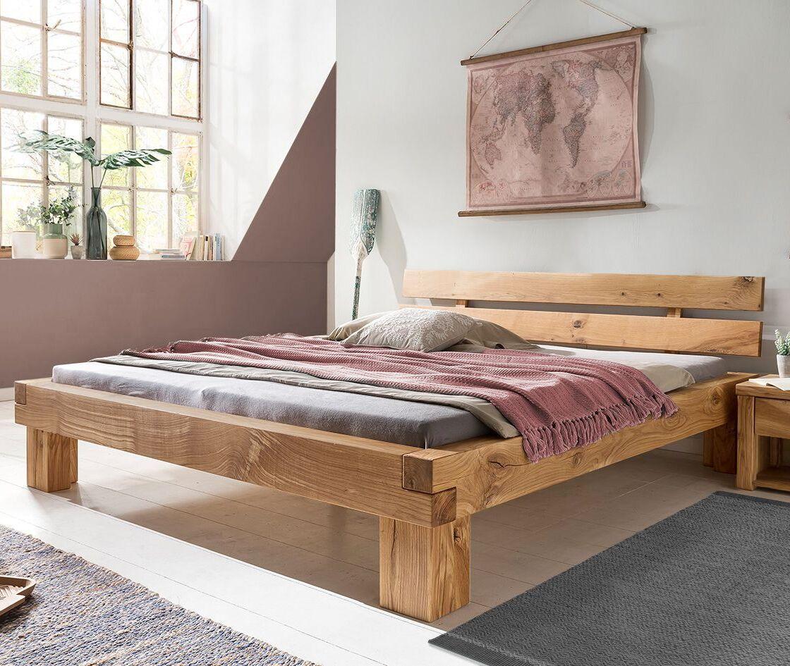 Full Size of Balken Bett Balkenbett Mit Blockfen Kopfteil In Wildeiche Massiv Areska Stauraum 160x200 Schwarzes Nussbaum Paradies Betten 90x200 Weiß Schubladen Bett Balken Bett