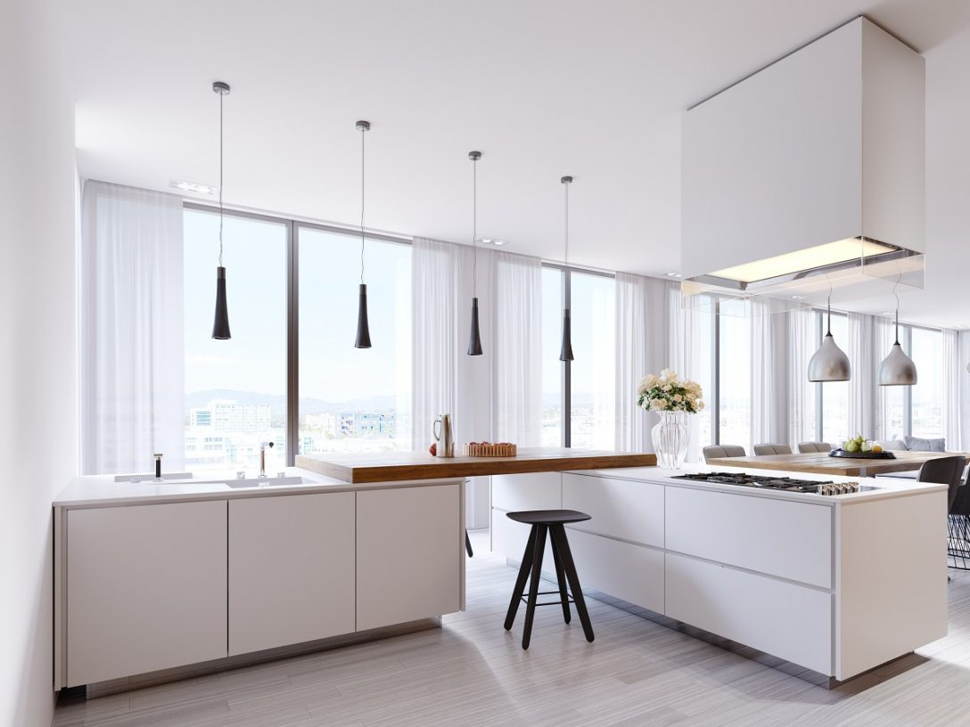 Large Size of White Corner Kitchen In Contemporary Style, With Bar Top And Black Chairs. Suspended Lamps And Square Hood, Panoramic Windows And Dining Area. Küche Küche Modern Weiss
