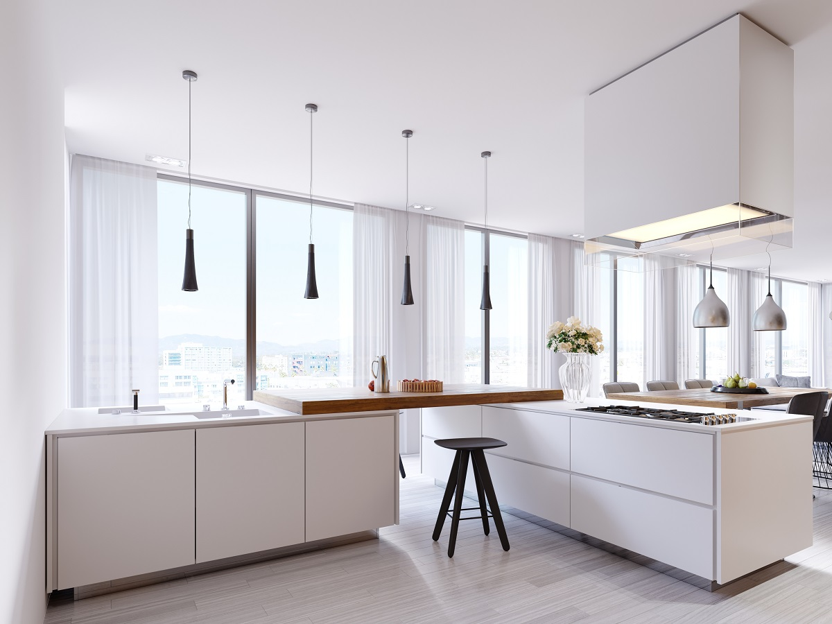 Full Size of White Corner Kitchen In Contemporary Style, With Bar Top And Black Chairs. Suspended Lamps And Square Hood, Panoramic Windows And Dining Area. Küche Küche Modern Weiss