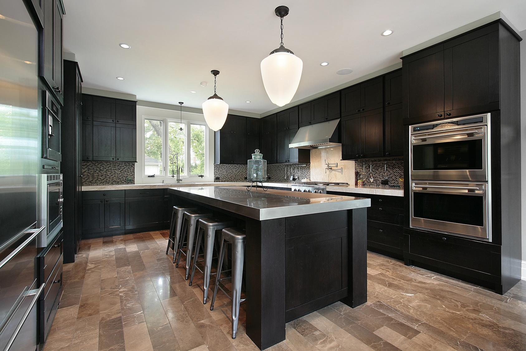Full Size of Kitchen With Dark Wood Cabinetry Küche Edelstahlküche