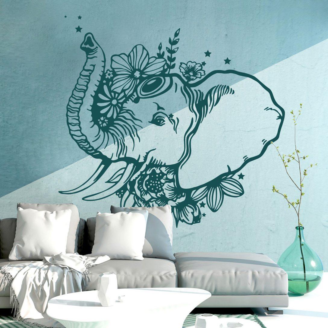 Large Size of Wandtattoos Schlafzimmer Wandtattoo Indischer Elefant Wanddeko Indien Orientalisch Regal Günstige Komplett Landhausstil Weiß Kommode Komplettangebote Schlafzimmer Wandtattoos Schlafzimmer
