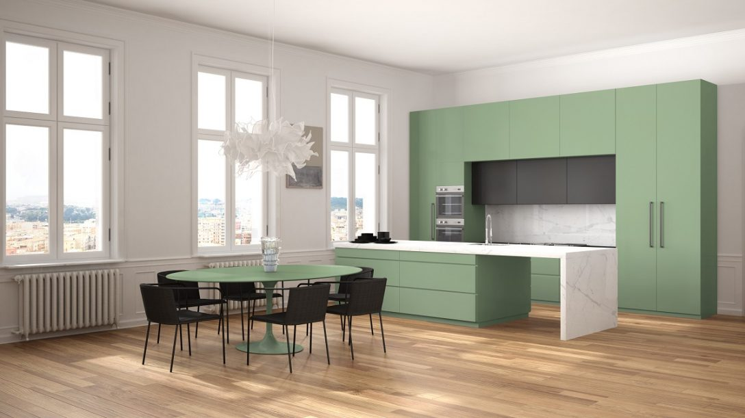 Large Size of Minimalist Green And Black Kitchen In Classic Room With Moldings, Parquet Floor, Dining Table With Chairs, Marble Island And Panoramic Windows. Modern Architecture Interior Design Küche Freistehende Küche