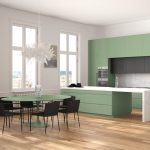 Freistehende Küche Küche Minimalist Green And Black Kitchen In Classic Room With Moldings, Parquet Floor, Dining Table With Chairs, Marble Island And Panoramic Windows. Modern Architecture Interior Design