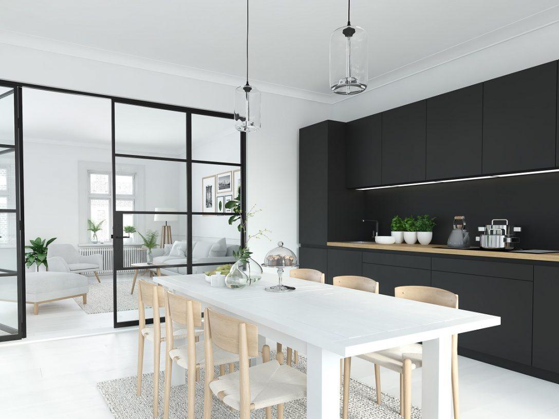 Large Size of Modern Nordic Kitchen In Loft Apartment. 3d Rendering Küche Grifflose Küche