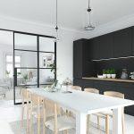Modern Nordic Kitchen In Loft Apartment. 3D Rendering Küche Grifflose Küche