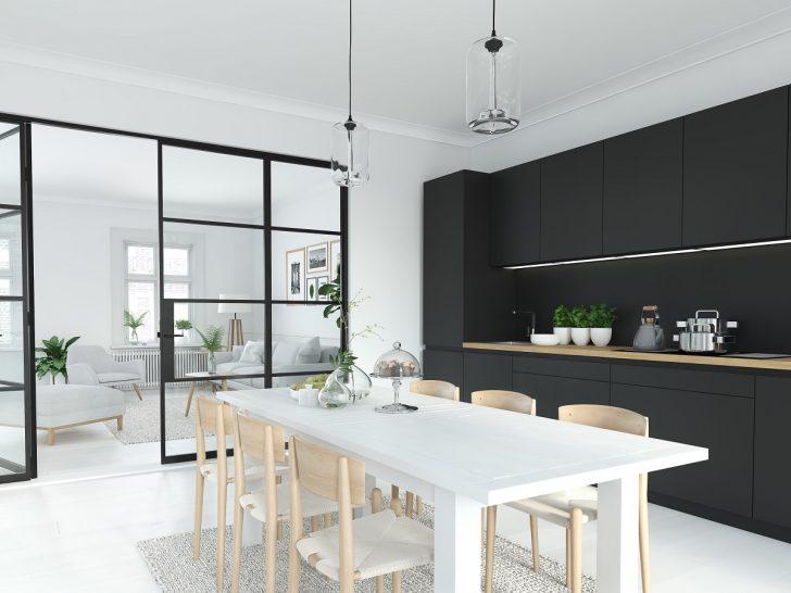 Medium Size of Modern Nordic Kitchen In Loft Apartment. 3d Rendering Küche Grifflose Küche