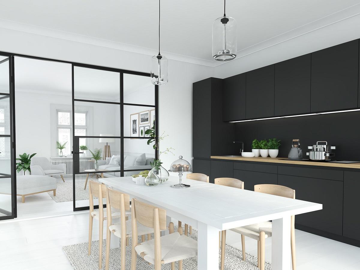 Full Size of Modern Nordic Kitchen In Loft Apartment. 3d Rendering Küche Grifflose Küche