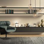 Contemporary Modern Beige Wall System Living Room Wohnzimmer Hängelampe Wohnzimmer