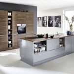 Lux   Papyrusgrau HG / Artwood   Nussbaum Royal Küche Hochglanz Küche