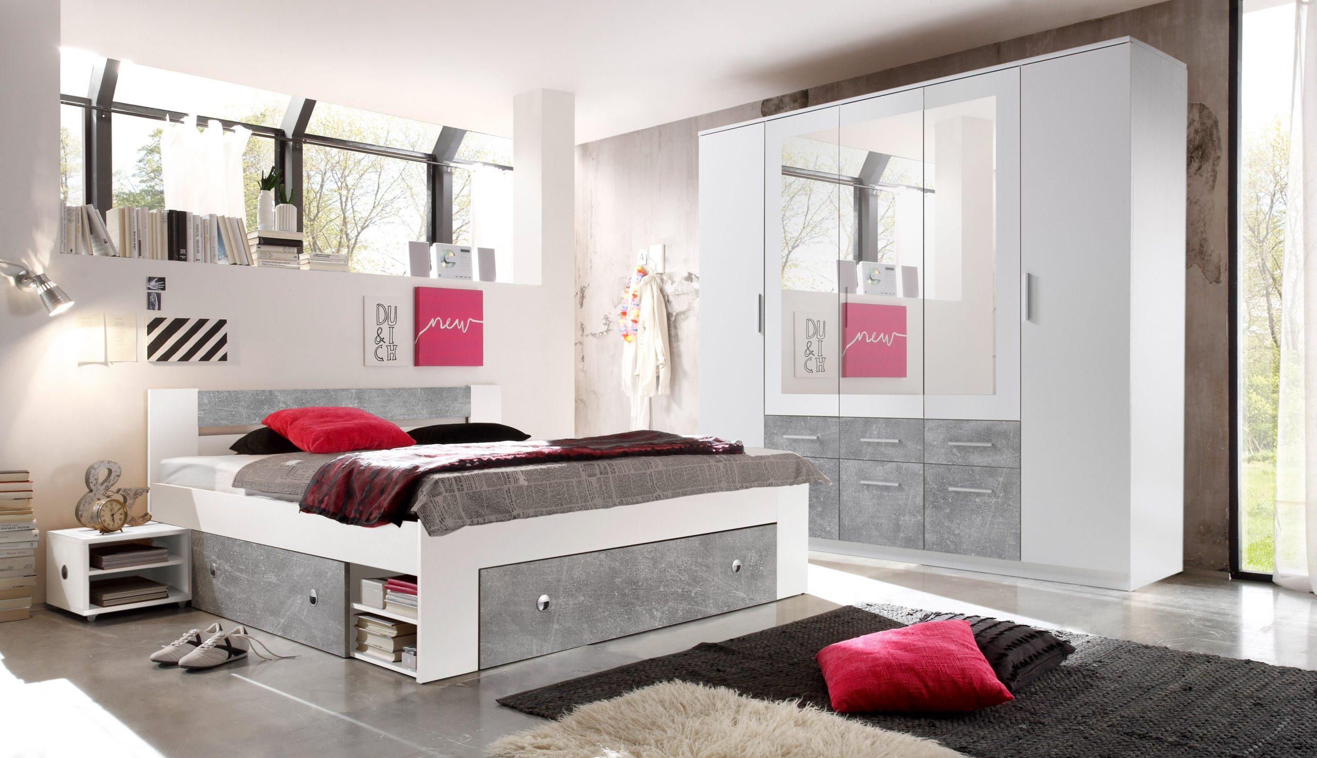 Full Size of Schlafzimmer Komplett Set 4 Tlg Stefan Bett 180 Kleiderschrank Romantische Komplettes Lampe Deckenleuchten Günstig Günstige Sofa Fenster Vorhänge Schlafzimmer Komplett Schlafzimmer Günstig