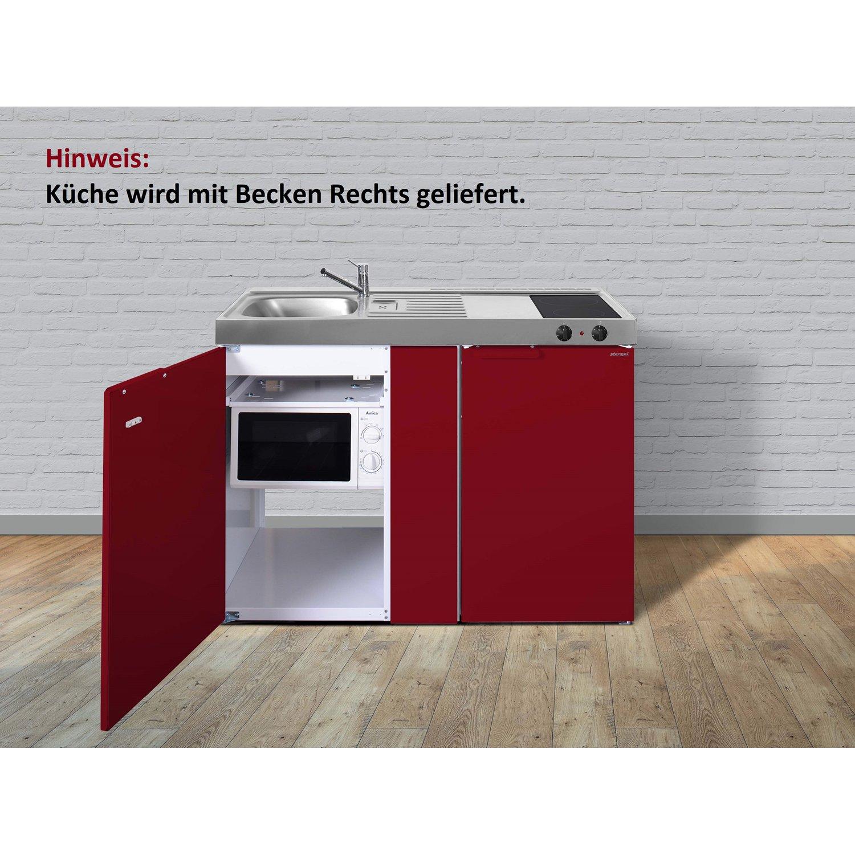 Full Size of Stengel Metall Minikche Mkm 120 Cm Bordeauxrot Mit Becken Rechts Miniküche Ikea Kühlschrank Küche Stengel Miniküche