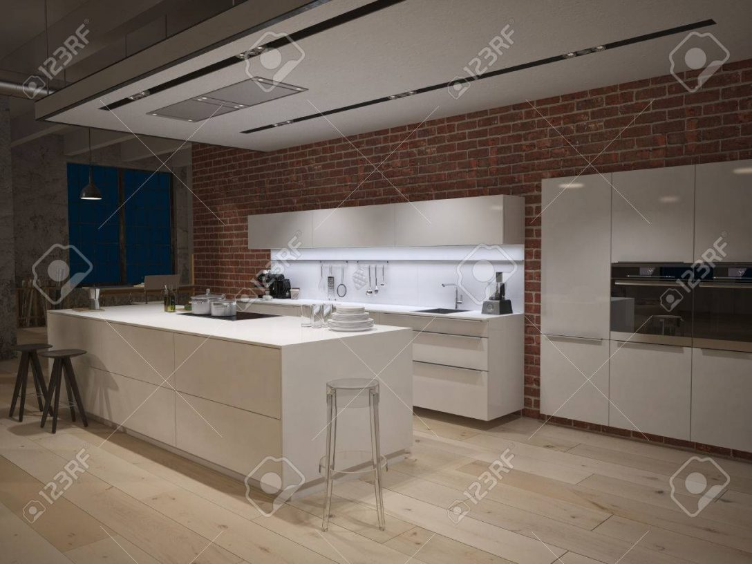Large Size of Contemporary Steel Kitchen In Converted Industrial Loft. 3d Rendering Küche Industrie Küche