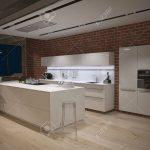 Contemporary Steel Kitchen In Converted Industrial Loft. 3d Rendering Küche Industrie Küche