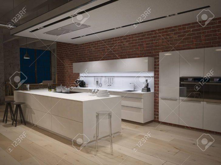 Medium Size of Contemporary Steel Kitchen In Converted Industrial Loft. 3d Rendering Küche Industrie Küche
