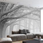 Tapeten Schlafzimmer Schlafzimmer Tapeten Schlafzimmer Beibehang Schwarz Und Wei Wald Baum Kunst Hintergrund Wand Klimagerät Für Vorhänge Weißes Massivholz Betten Kronleuchter Mit überbau