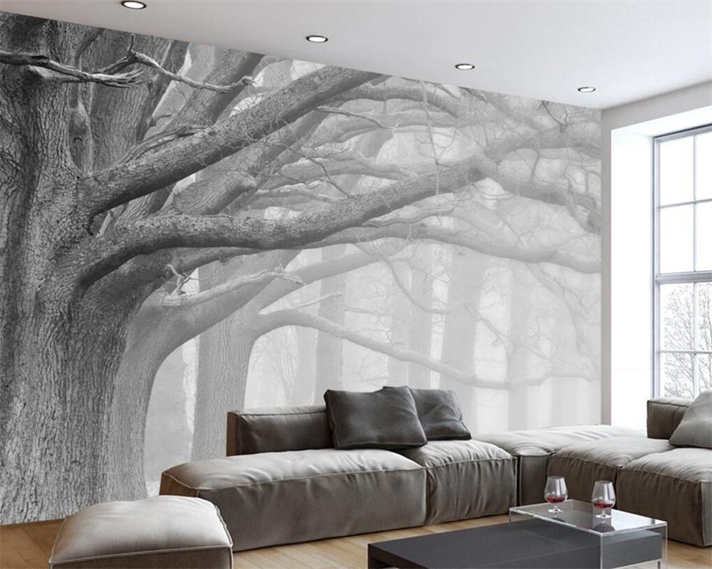 Full Size of Tapeten Schlafzimmer Beibehang Schwarz Und Wei Wald Baum Kunst Hintergrund Wand Klimagerät Für Vorhänge Weißes Massivholz Betten Kronleuchter Mit überbau Schlafzimmer Tapeten Schlafzimmer