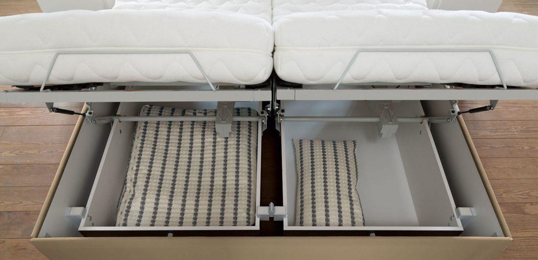 Large Size of Emilia Ruf Betten Das Kompakte Polsterbett Mit Riesenstauraum Bett Holz Massivholz 180x200 Einbauküche E Geräten Balken Aufbewahrung 160x200 Lattenrost Und Bett Bett Mit Stauraum 160x200