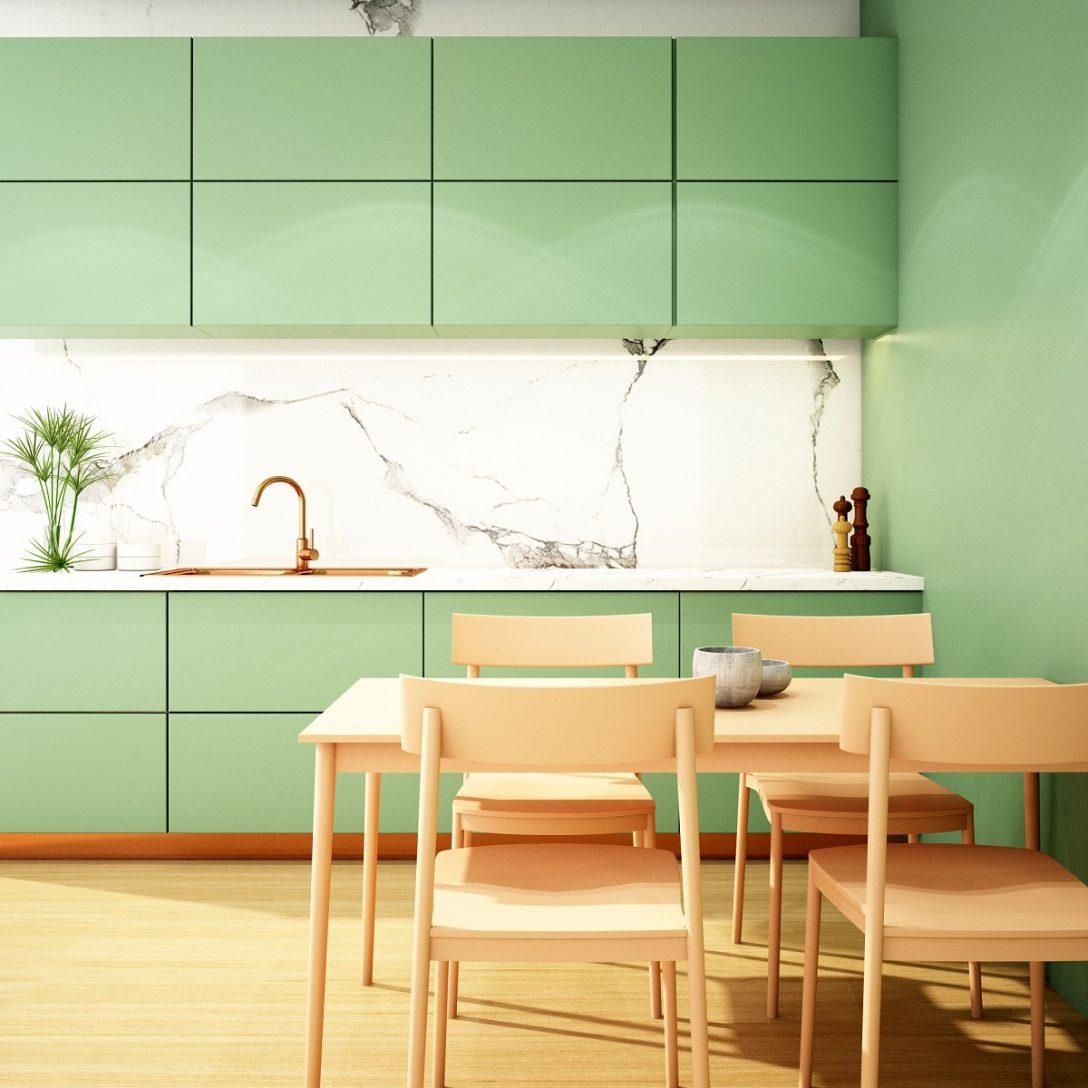 Large Size of Kitchen Interior Design In Modern Style,3d Rendering,3d Illustration Küche Küche Mintgrün