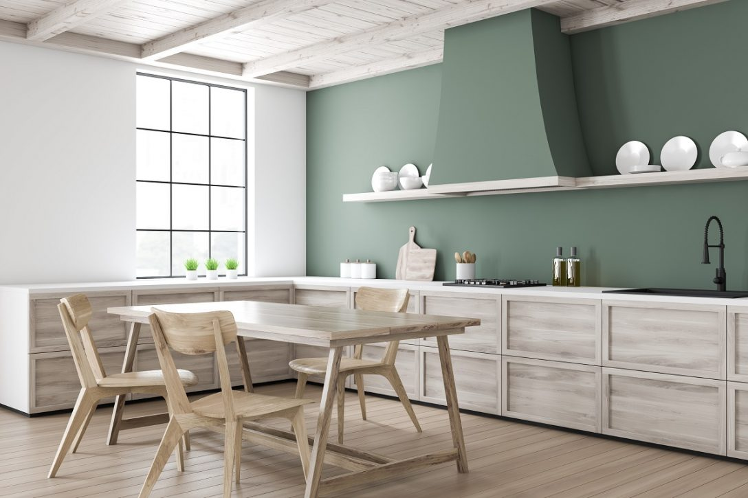 Large Size of Green Kitchen Corner With Dining Table Küche Küche Mintgrün