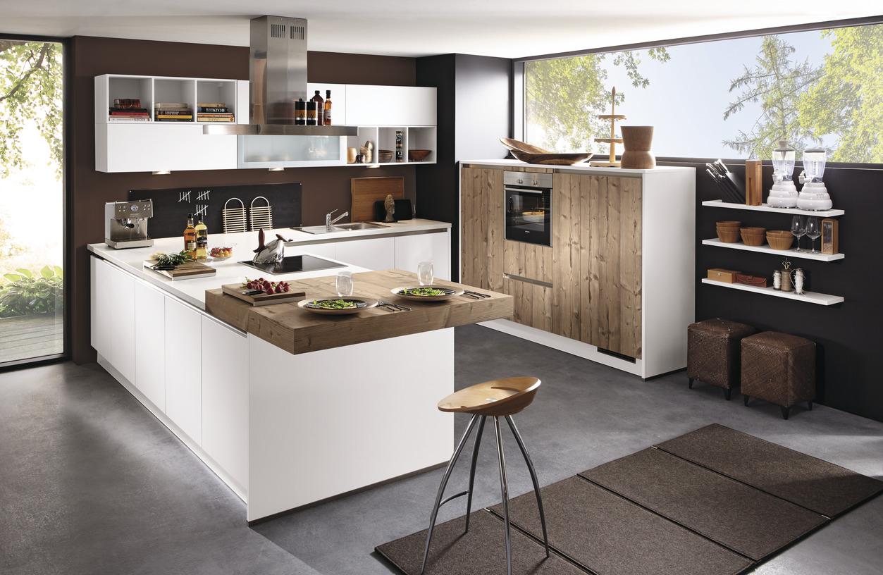 Küche U Form Mit Tresen In Theke Modern Offen Bett 180x200 Komplett Lattenrost Und Matratze ...