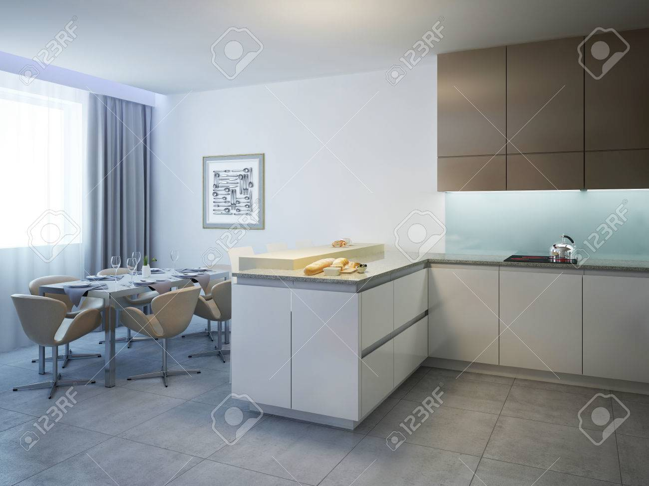 Full Size of Kitchen With Dining Table Contemporary Style Küche Küche Mit Theke