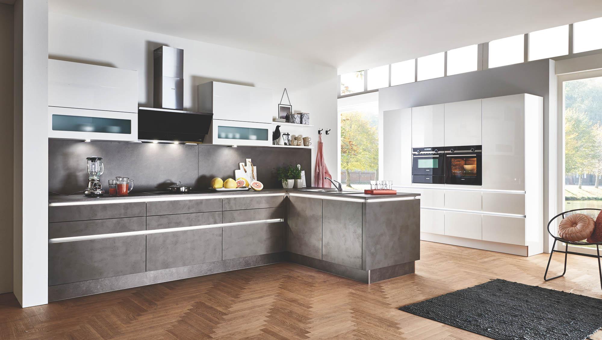 Full Size of Portland   Zement Anthrazit / Nova Lack   Weiß Hg Küche Einbauküche Mit E Geräten