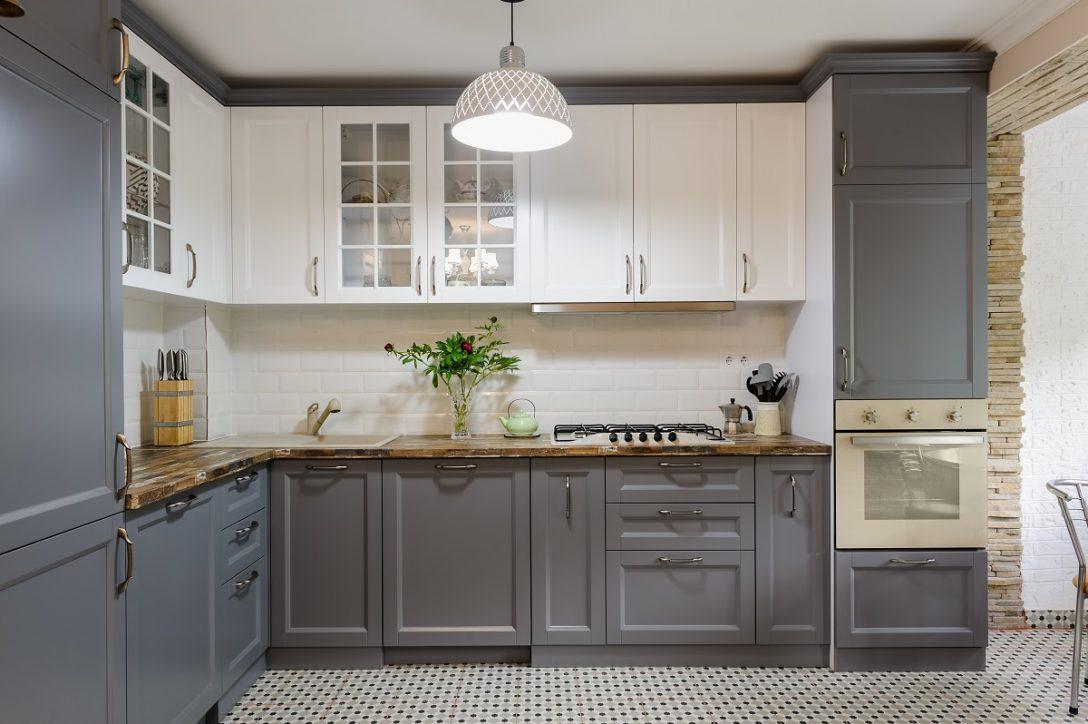 Large Size of Modern Grey And White Wooden Kitchen Interior Küche Küche Modern Weiss