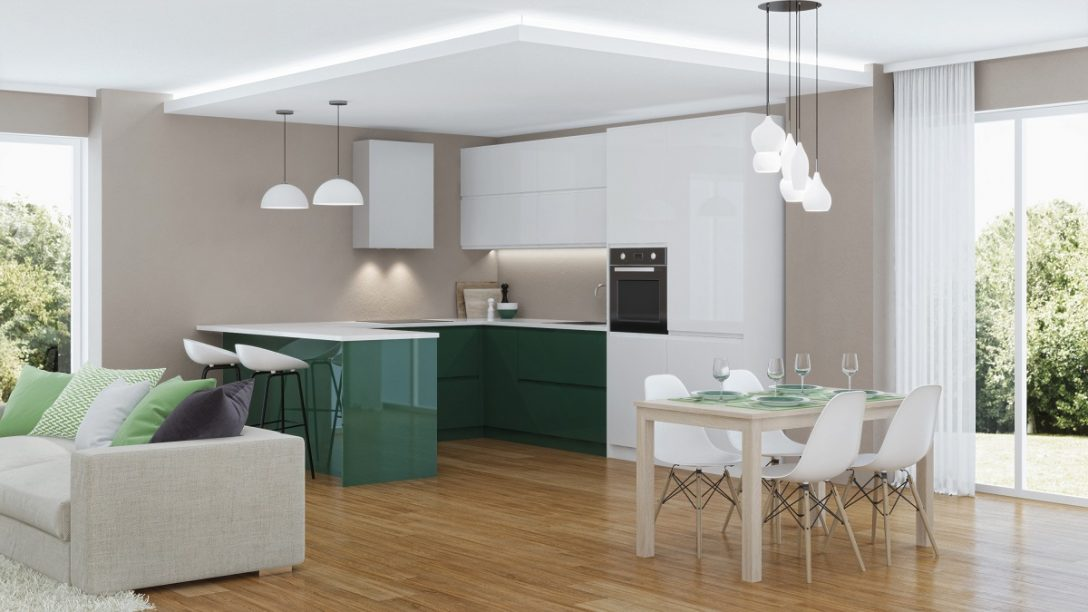 Large Size of Modern House Interior. 3d Rendering. Küche Küche Sitzgruppe