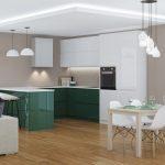 Modern House Interior. 3D Rendering. Küche Küche Sitzgruppe