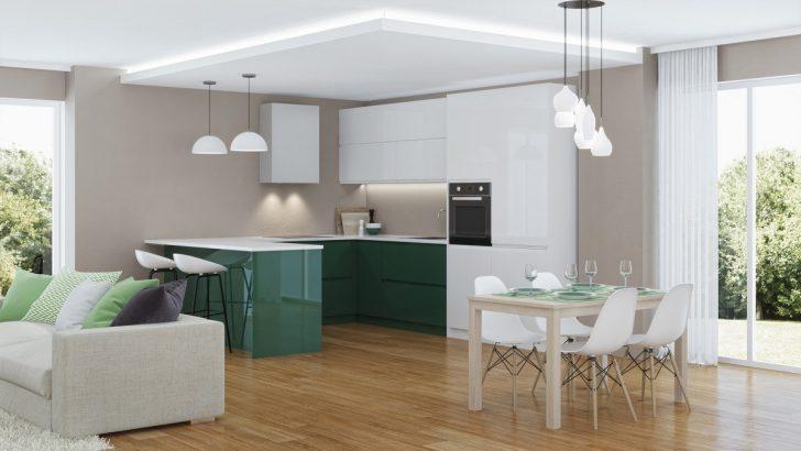 Medium Size of Modern House Interior. 3d Rendering. Küche Küche Sitzgruppe
