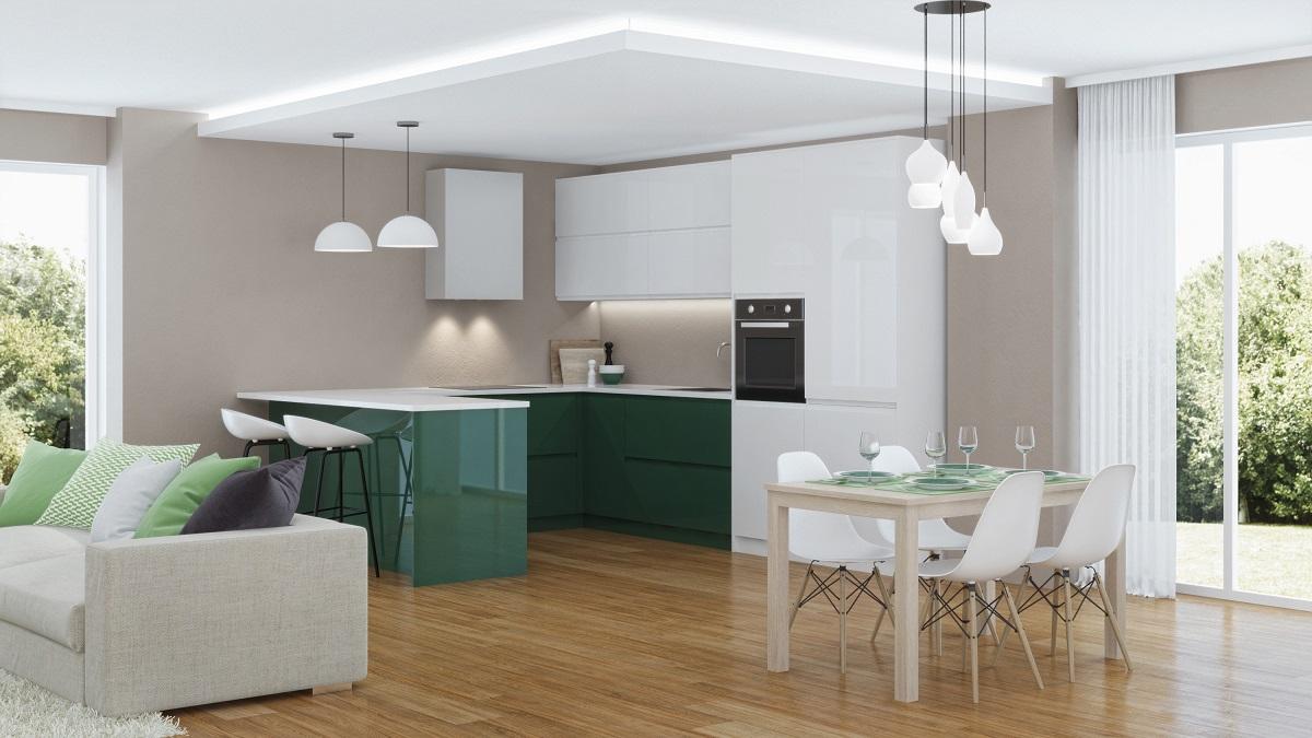 Full Size of Modern House Interior. 3d Rendering. Küche Küche Sitzgruppe