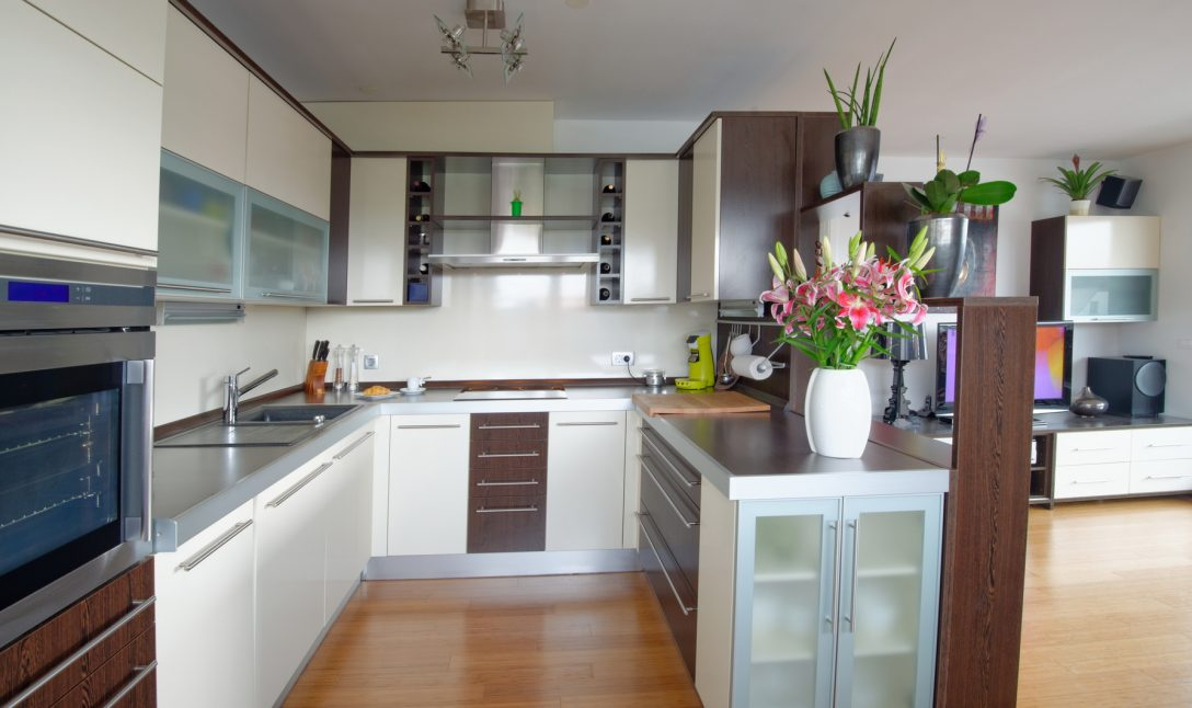 Large Size of Modern Living Room Interior With Kitchen Küche Küche U Form