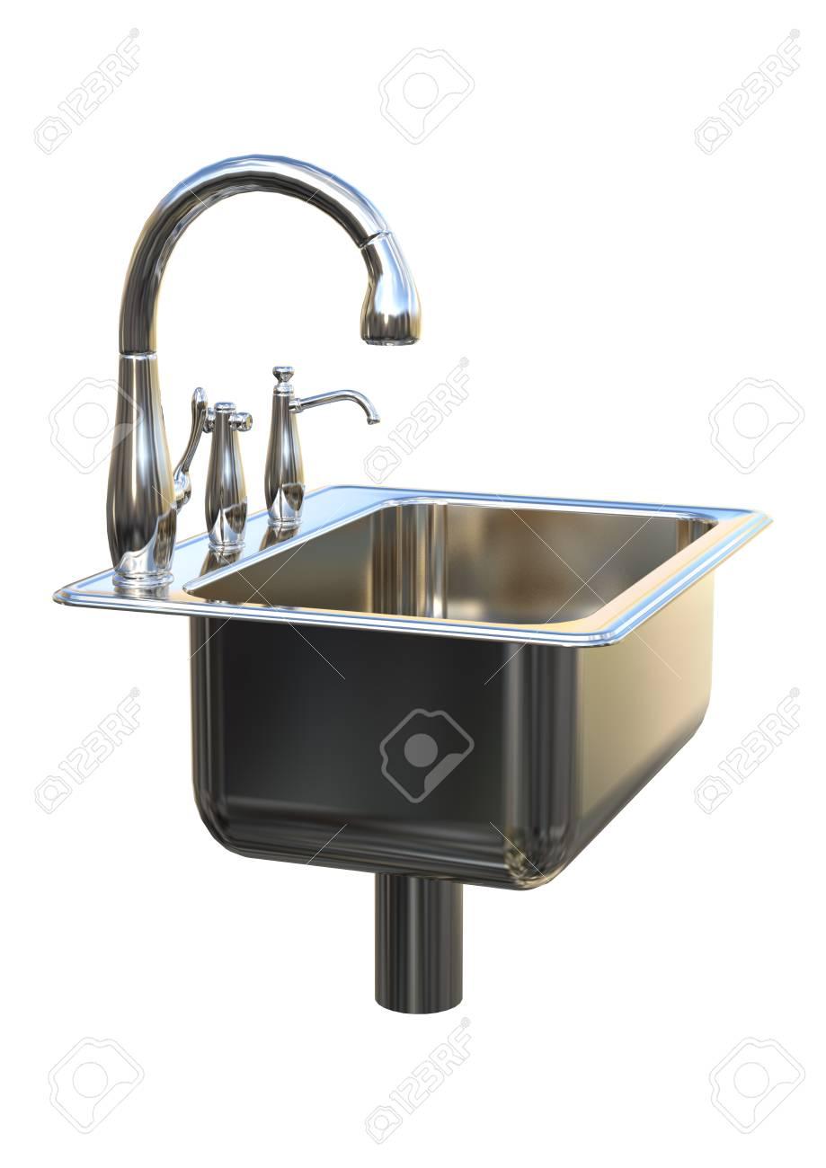 Full Size of 3d Rendering Kitchen Sink On White Küche Küche Waschbecken
