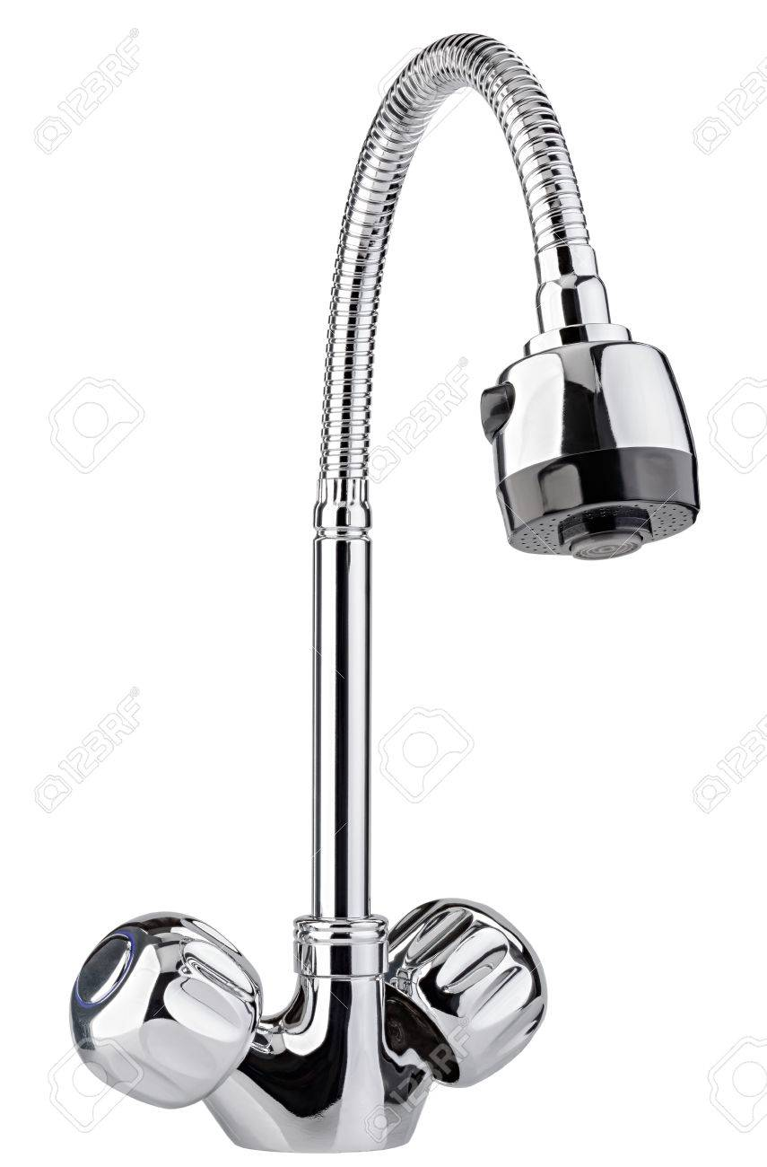 Full Size of The Water Tap, Faucet For The Bathroom And Kitchen Mixer, Isolated On A White Background. Chrome Plated Metal. Küche Küche Wasserhahn