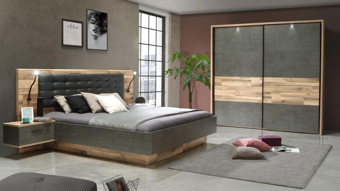 Large Size of Schlafzimmer 1 Ricciano Komplett Eiche Beton Grau 4 Teilig Weiß Luxus Wandtattoo Rauch Nolte Vorhänge Stehlampe Klimagerät Für Lampe Deckenlampe Günstig Schlafzimmer Komplette Schlafzimmer