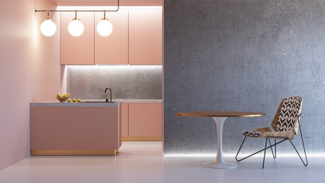 Large Size of Kitchen Pink Minimalistic Interior With Table Chair Lamp Marble Floor Concrete Wall. 3d Render Illustration Mock Up. Küche Küche Rosa