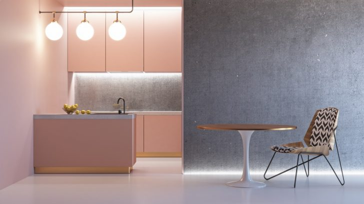 Medium Size of Kitchen Pink Minimalistic Interior With Table Chair Lamp Marble Floor Concrete Wall. 3d Render Illustration Mock Up. Küche Küche Rosa