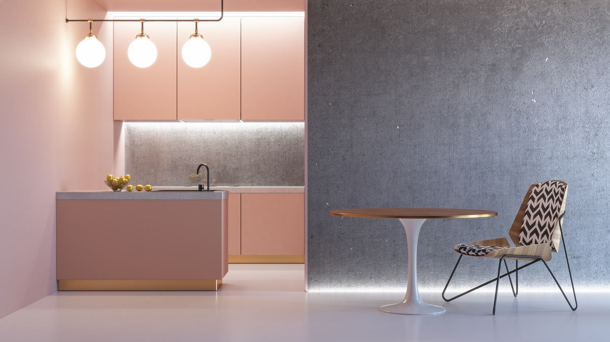 Full Size of Kitchen Pink Minimalistic Interior With Table Chair Lamp Marble Floor Concrete Wall. 3d Render Illustration Mock Up. Küche Küche Rosa