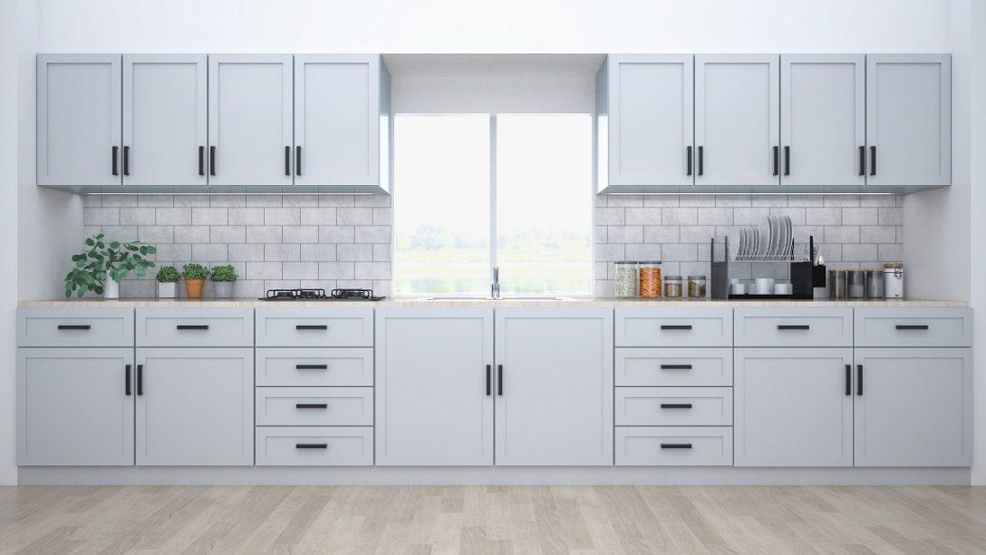 Large Size of Modern Kitchen Interior With Furniture.3d Rendering Küche Landhausküche Weiß